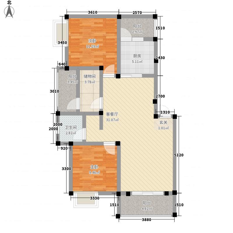 北城天街2.82㎡D1户型3室2厅1卫1厨