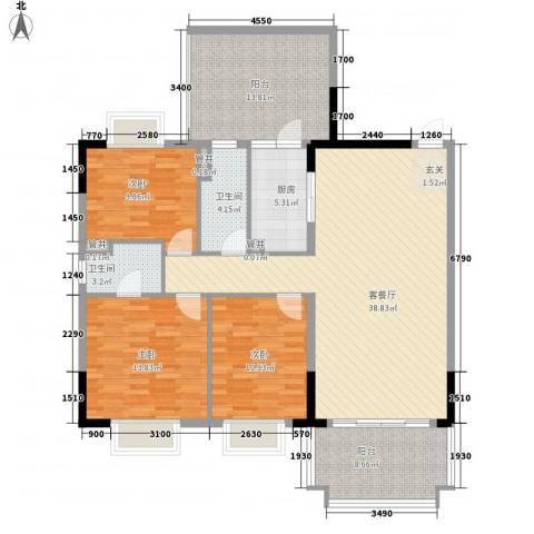 锦绣江南3室1厅2卫1厨152.00㎡户型图