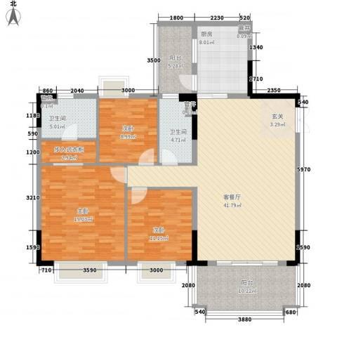 锦绣江南3室1厅2卫1厨142.00㎡户型图
