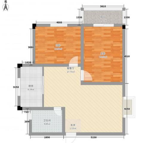 凯丽滨江2室1厅1卫1厨86.00㎡户型图