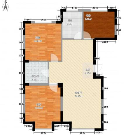 光明小区3室1厅1卫1厨115.00㎡户型图