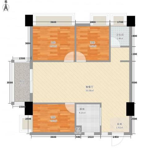 金水湾・城市广场3室1厅1卫1厨69.64㎡户型图