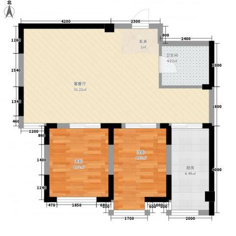 光明小区2室1厅1卫1厨84.00㎡户型图