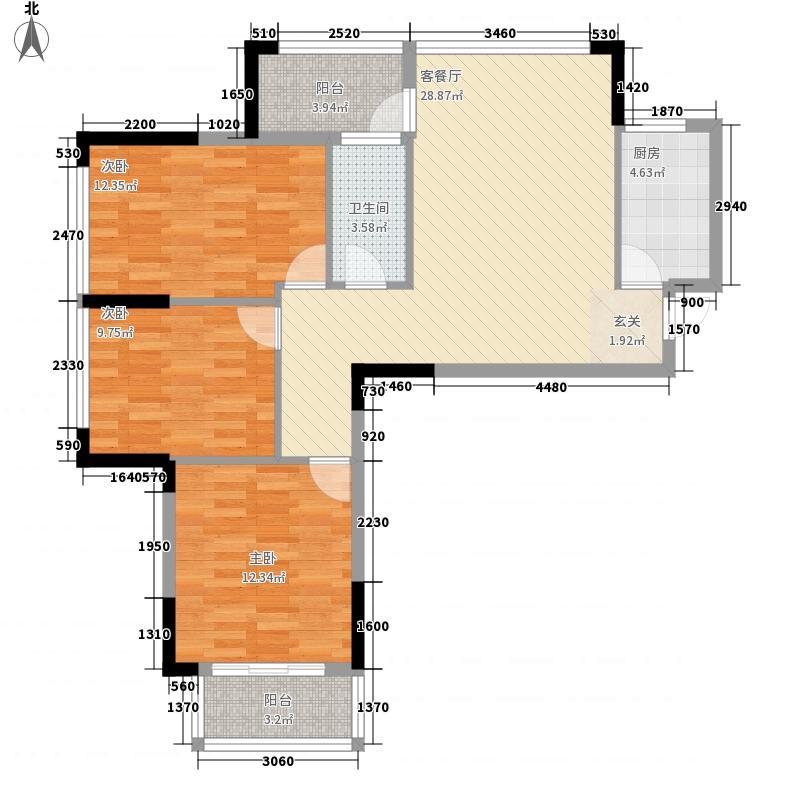 水岸阳光32213.64㎡I户型3室2厅2卫1厨