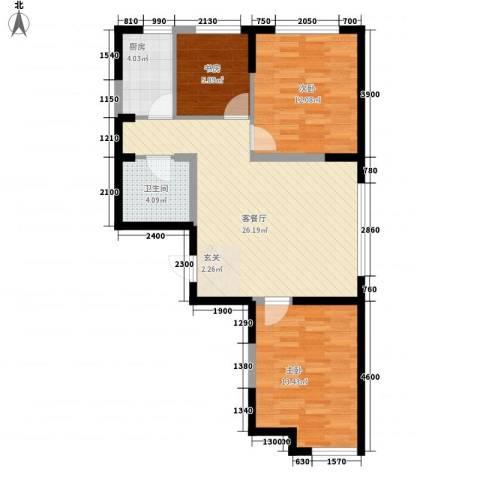 光明小区3室1厅1卫1厨93.00㎡户型图