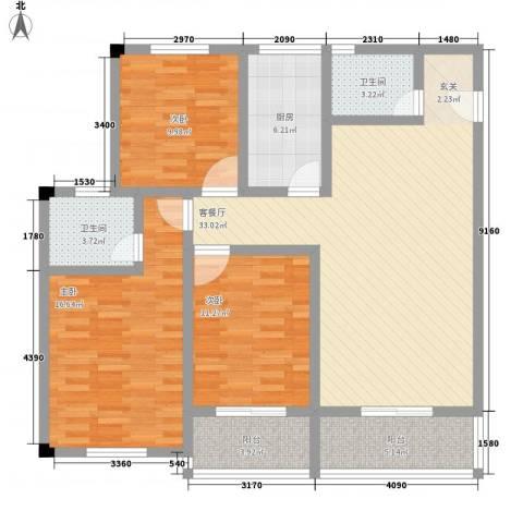 凯丽滨江3室1厅2卫1厨117.00㎡户型图