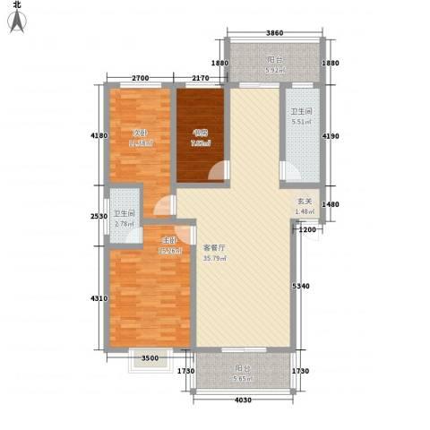 地久艳阳天3室1厅2卫0厨89.90㎡户型图