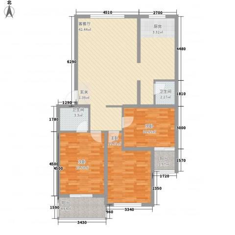 沧州孔雀花园小区(原王官屯旧城改造)3室1厅2卫0厨115.00㎡户型图