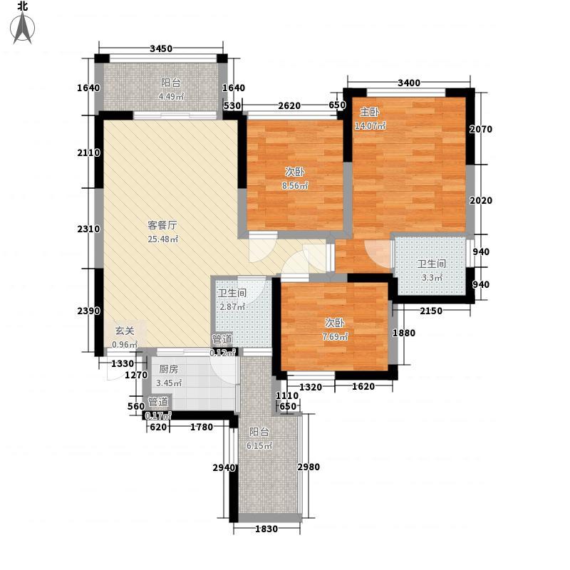 加洲国际城1.41㎡三期户型3室3厅3卫1厨