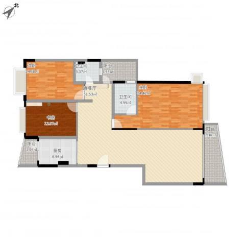 新世纪豪园3室1厅2卫1厨165.00㎡户型图