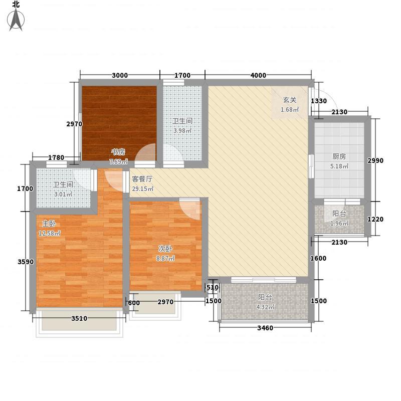 帝豪绿洲13.00㎡B6型户型3室2厅2卫1厨