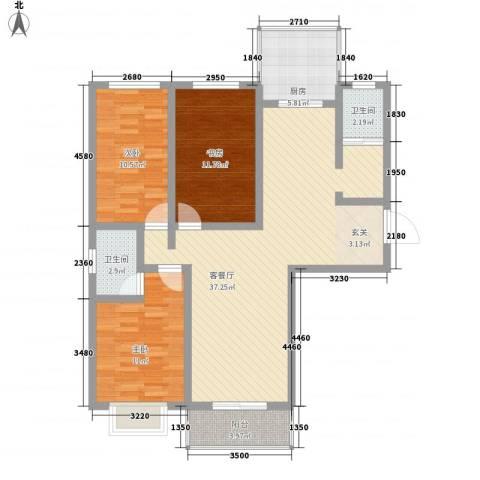 地久艳阳天3室1厅2卫1厨124.00㎡户型图
