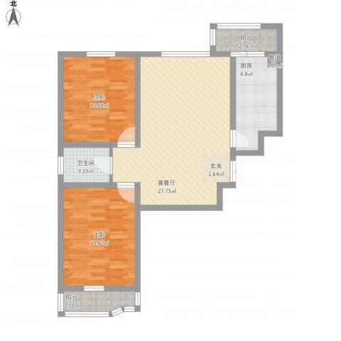 都市怡景三期2室1厅1卫1厨100.00㎡户型图