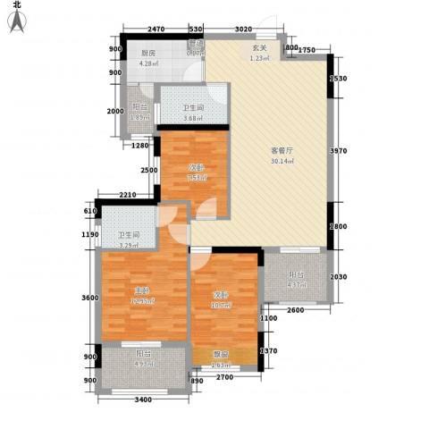 大华・富贵世家3室1厅2卫1厨83.93㎡户型图