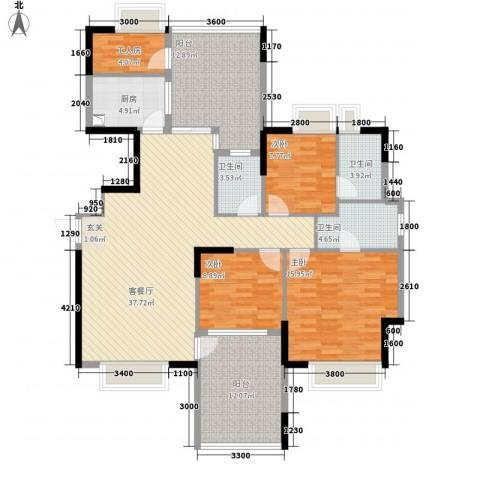 中珠上城3室1厅3卫1厨136.00㎡户型图