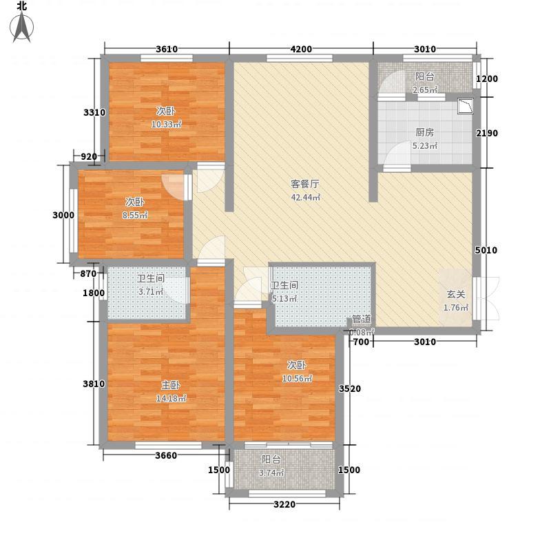 五龙湾・府东天地147.75㎡7A户型4室2厅2卫1厨
