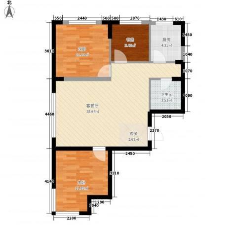 光明小区3室1厅1卫1厨91.00㎡户型图