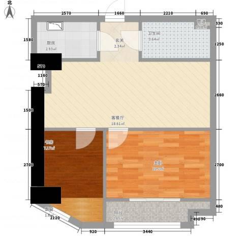 同曦鸣城2室1厅1卫1厨68.00㎡户型图