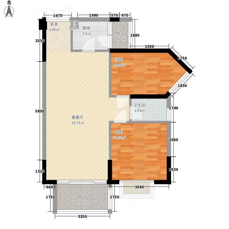 东江豪苑2384.67㎡2座03-08户型2室2厅1卫