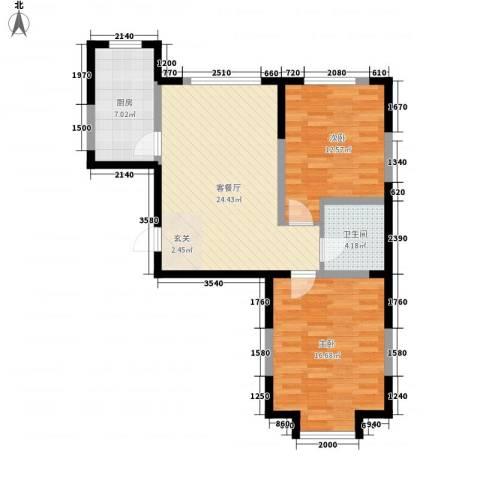 光明小区2室1厅1卫1厨92.00㎡户型图