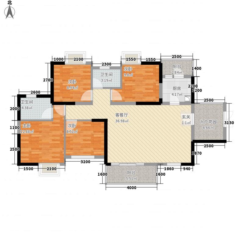 山水一品133.00㎡6栋A1户型4室2厅2卫1厨