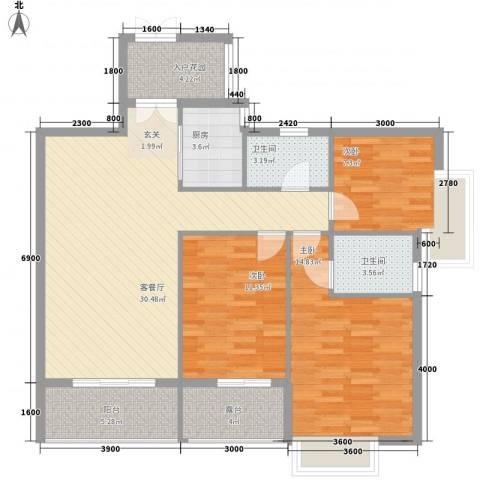 泰和・中央公园3室1厅2卫1厨111.00㎡户型图