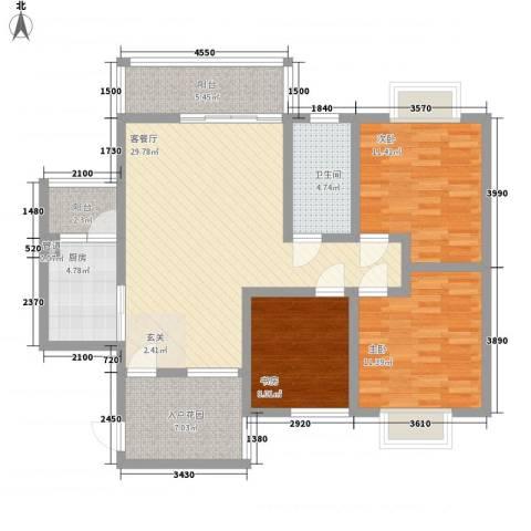 长桥郡3室1厅1卫1厨84.96㎡户型图