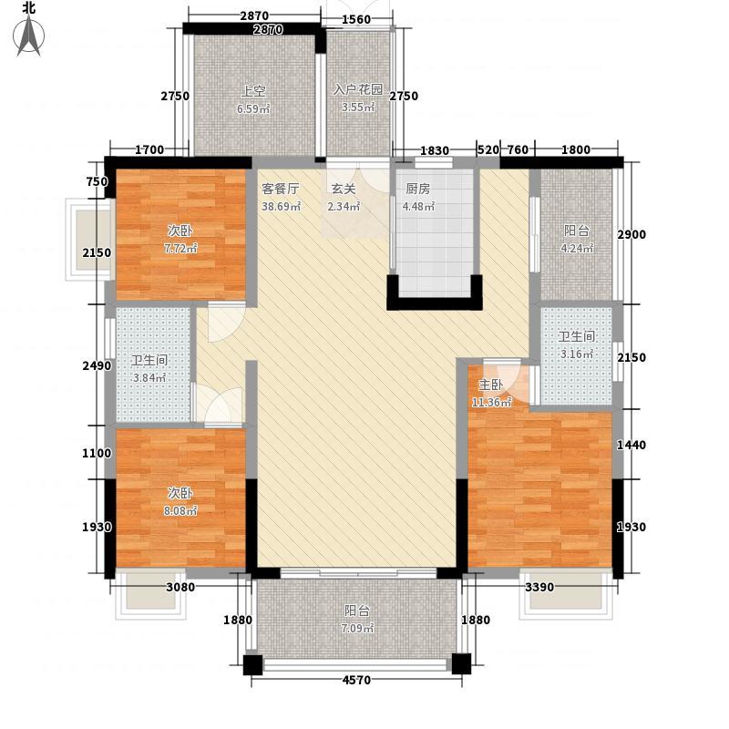 中国铁建・金色蓝庭121.00㎡3#B户型5室2厅2卫1厨