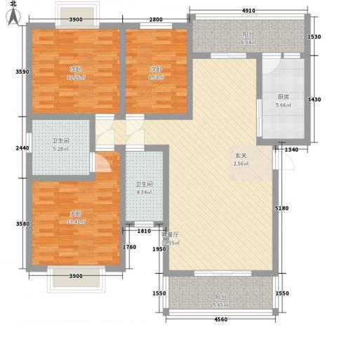 长桥郡3室1厅2卫1厨117.00㎡户型图