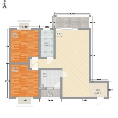 长桥郡2室1厅1卫1厨89.00㎡户型图