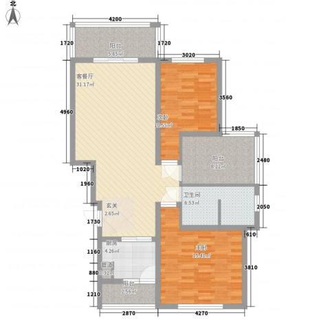 辰兴天御2室1厅1卫1厨84.88㎡户型图