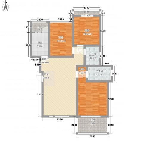 辰兴天御3室1厅2卫1厨111.00㎡户型图