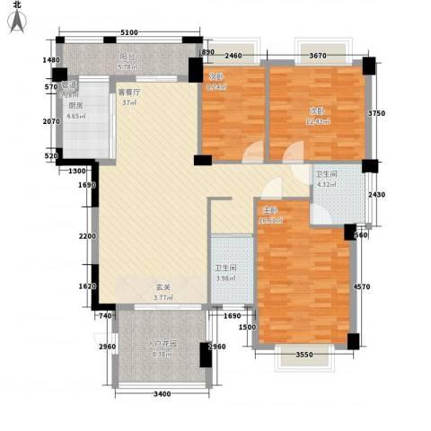 吉立・浅水湾3室1厅2卫1厨127.00㎡户型图