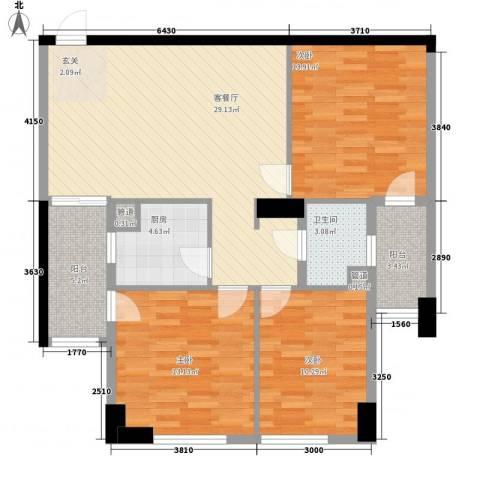 滨东康城二期3室1厅1卫1厨119.00㎡户型图