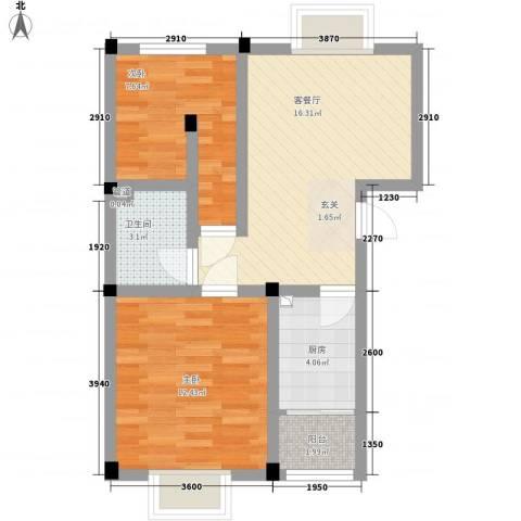 华晋佳苑2室1厅1卫1厨68.00㎡户型图