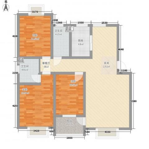 华晋佳苑3室1厅2卫1厨128.00㎡户型图