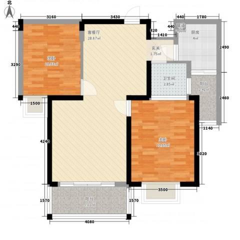 吉立・浅水湾2室1厅1卫1厨87.00㎡户型图
