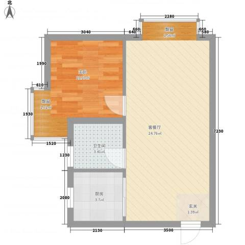一品名门云墅1室1厅1卫1厨59.00㎡户型图