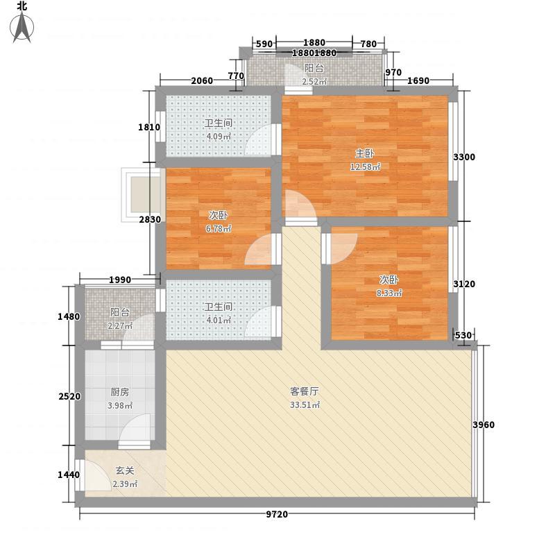 蓝水湾112.84㎡1号户型3室2厅2卫1厨