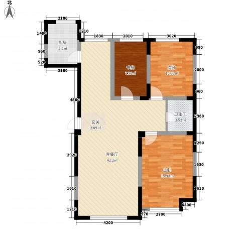 光明小区3室1厅1卫1厨121.00㎡户型图