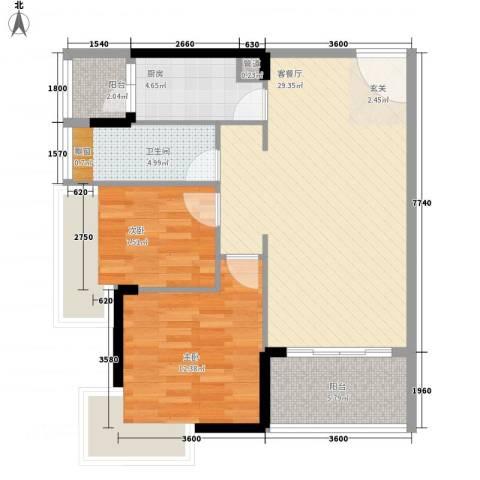 益田大运城邦2室1厅1卫1厨87.00㎡户型图
