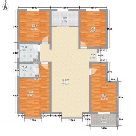 沧州孔雀花园小区(原王官屯旧城改造)4室1厅2卫1厨163.00㎡户型图