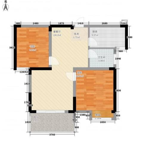 翡翠华庭2室1厅1卫1厨88.00㎡户型图
