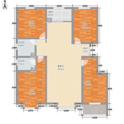 沧州孔雀花园小区(原王官屯旧城改造)4室1厅2卫1厨178.00㎡户型图