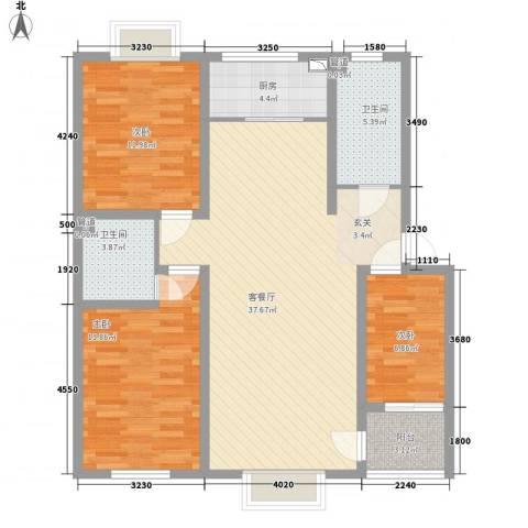 华晋佳苑3室1厅2卫1厨125.00㎡户型图