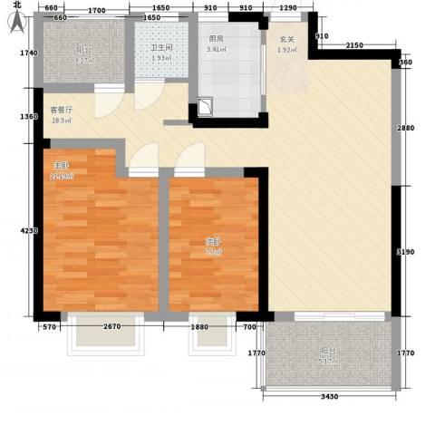 翡翠华庭2室1厅1卫1厨90.00㎡户型图