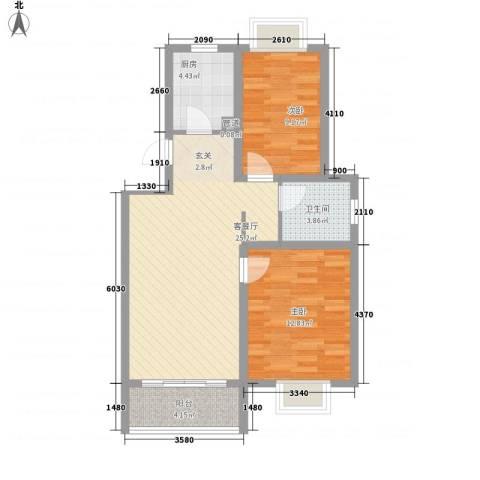 海通港城花园2室1厅1卫1厨86.00㎡户型图