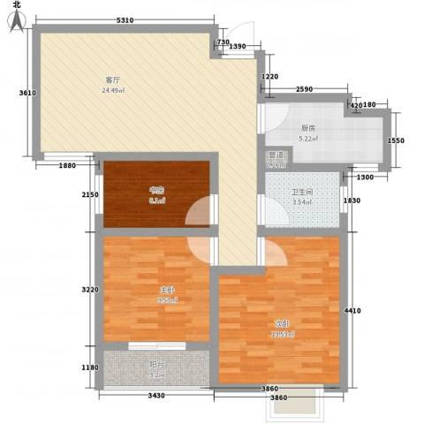 新城国际3室1厅1卫1厨65.93㎡户型图