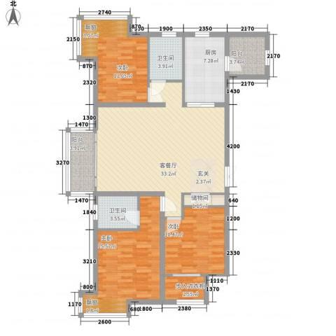 铂金水岸3室1厅2卫1厨125.00㎡户型图