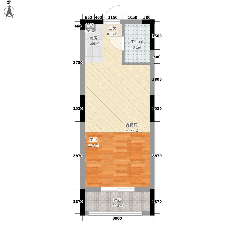 龙盛景苑54.60㎡C3户型1室1厅1卫